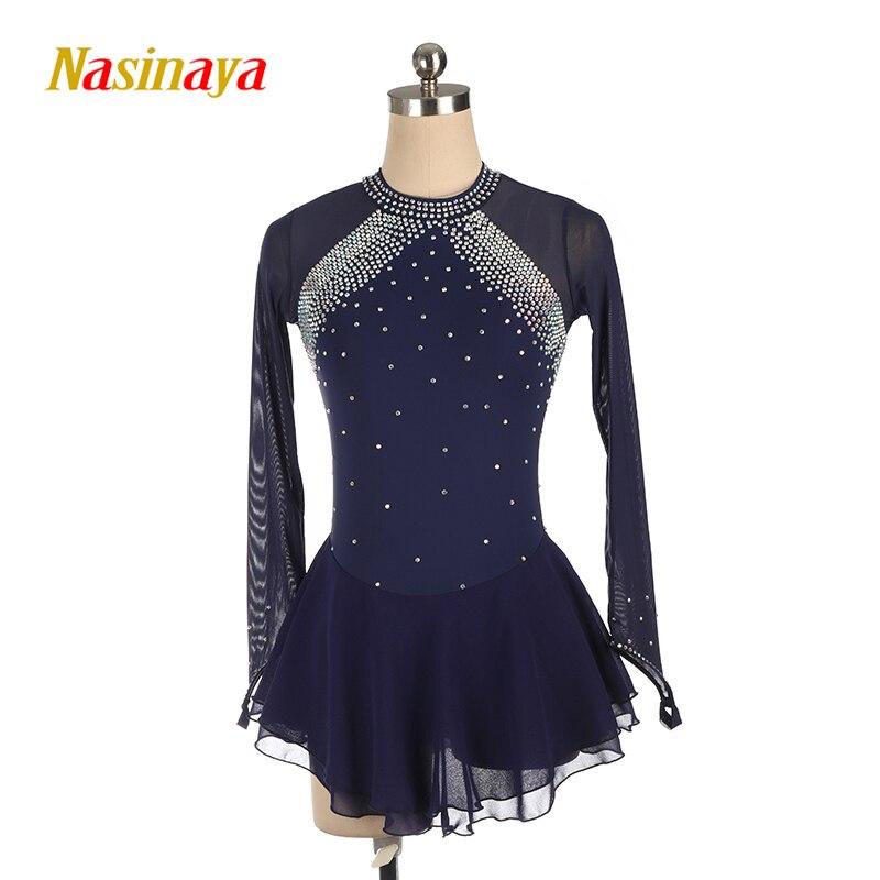Nasinaya azul vestido de Patinaje Artístico de manga larga falda de patinaje sobre hielo Spandex para mujer