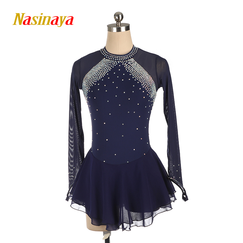 Nasinaya Light Blue Figure Skating Dress Long-Sleeved Ice Skating Skirt Leotards Spandex Women's Girl's AB Rhinestones