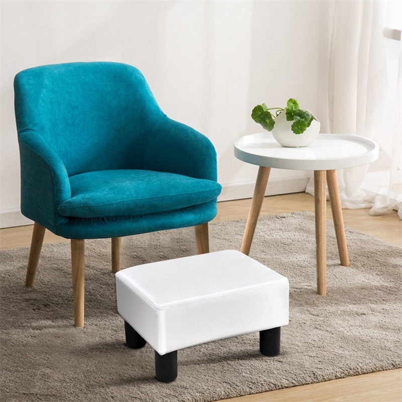 Fabulous Details About Small Ottoman Footrest Pu Leather Footstool Rectangular Seat Stool Portable Dailytribune Chair Design For Home Dailytribuneorg