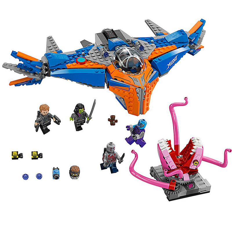 481pcs Super Heroes Guardians of the Galaxy The Milano vs Abilisk Bela 10748 Model Building Blocks Toys Bricks Compatible 76081