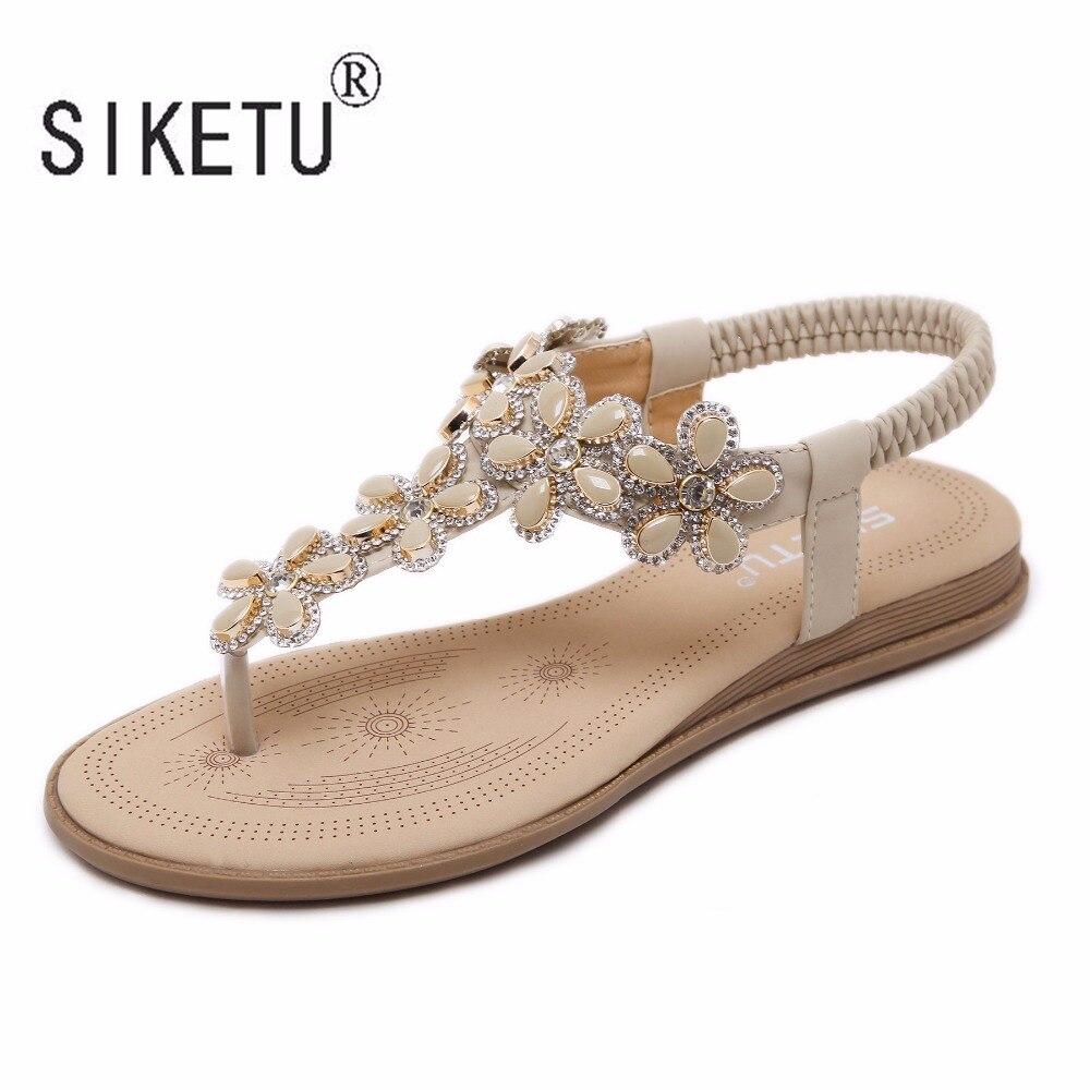 Falsas Sandalias Zapatos Diamantes 41 Con Siketu Clip Flores 35 Mujeres Nueva Toe Piedras Marca 2017 Bohemia Plana Corea Cómodas vIaqwf0R6x
