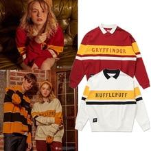 Moda suéter potter casal camisola escola mágica uniforme medalha maré faculdade quidditche decote presentes de aniversário