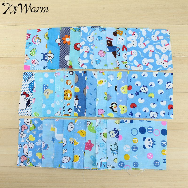 KiWarm 30pcs Newest Cute Animal Floral Cotton Fabrics DIY Sewing Quilting Patchwork Fabric No Repeat Design Tissue Cloth 10x10cm