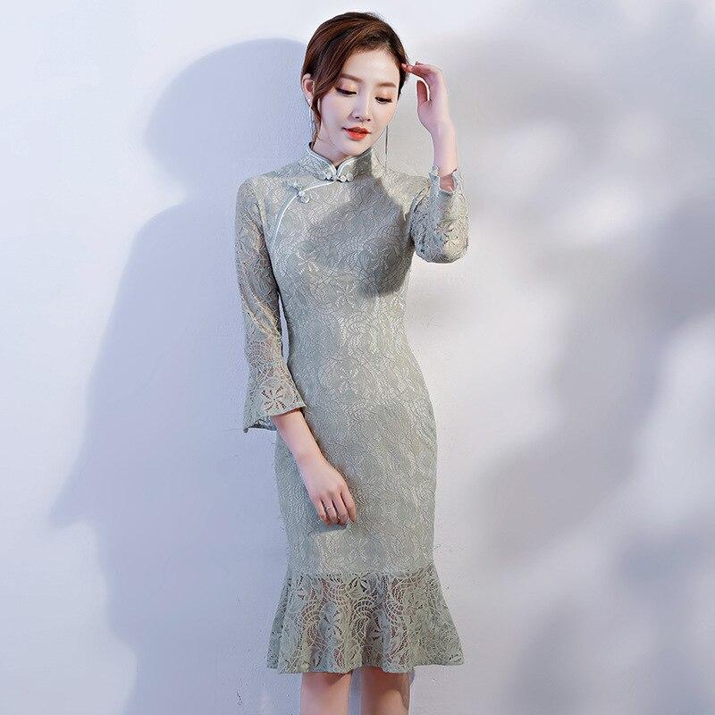 b9c99ee7b Cheap Verano nuevo encaje jacquard chino sexy vestido femenino botón hecho  a mano de la vendimia
