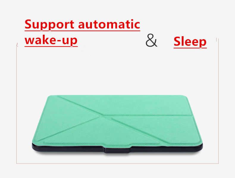 حافظة ذكية من الجلد الصناعي الأصلي عالية الجودة لهواتف 2016 الجديدة كليًا من كيندل (الجيل 8th 2016) بغطاء ereader + شاشة فيلم + قلم