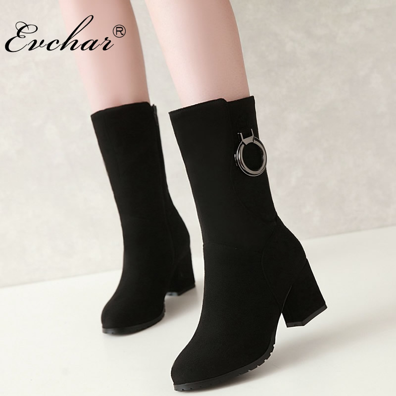 EVCHAR New Winter Autumn Shoes Women Boots High Heels Pointed Toe Mid-Calf Fashion Side Zipper riding Boots large size 31-43 2018 new arrival fashion winter shoe genuine leather pointed toe high heel handmade party runway zipper women mid calf boots l11