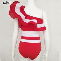 Новинка 2020, летний женский купальник в черно-белую полоску с оборками, комплект бикини из двух частей, купальник с открытыми плечами, сексуа... 6