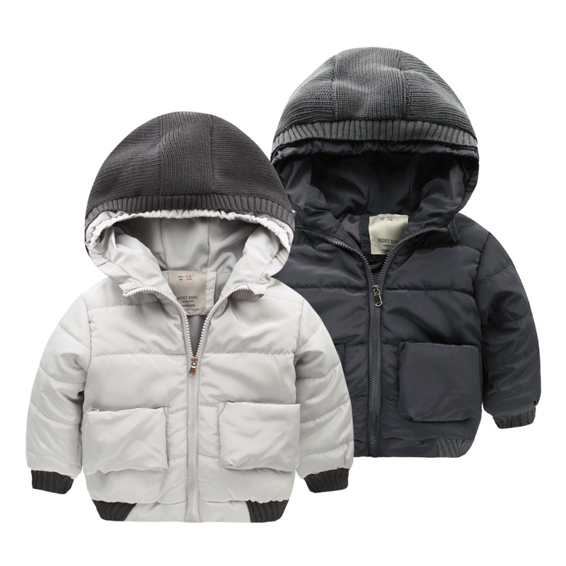 The boy with cap cotton padded jacket 2017 winter coat jacket kids children baby girls