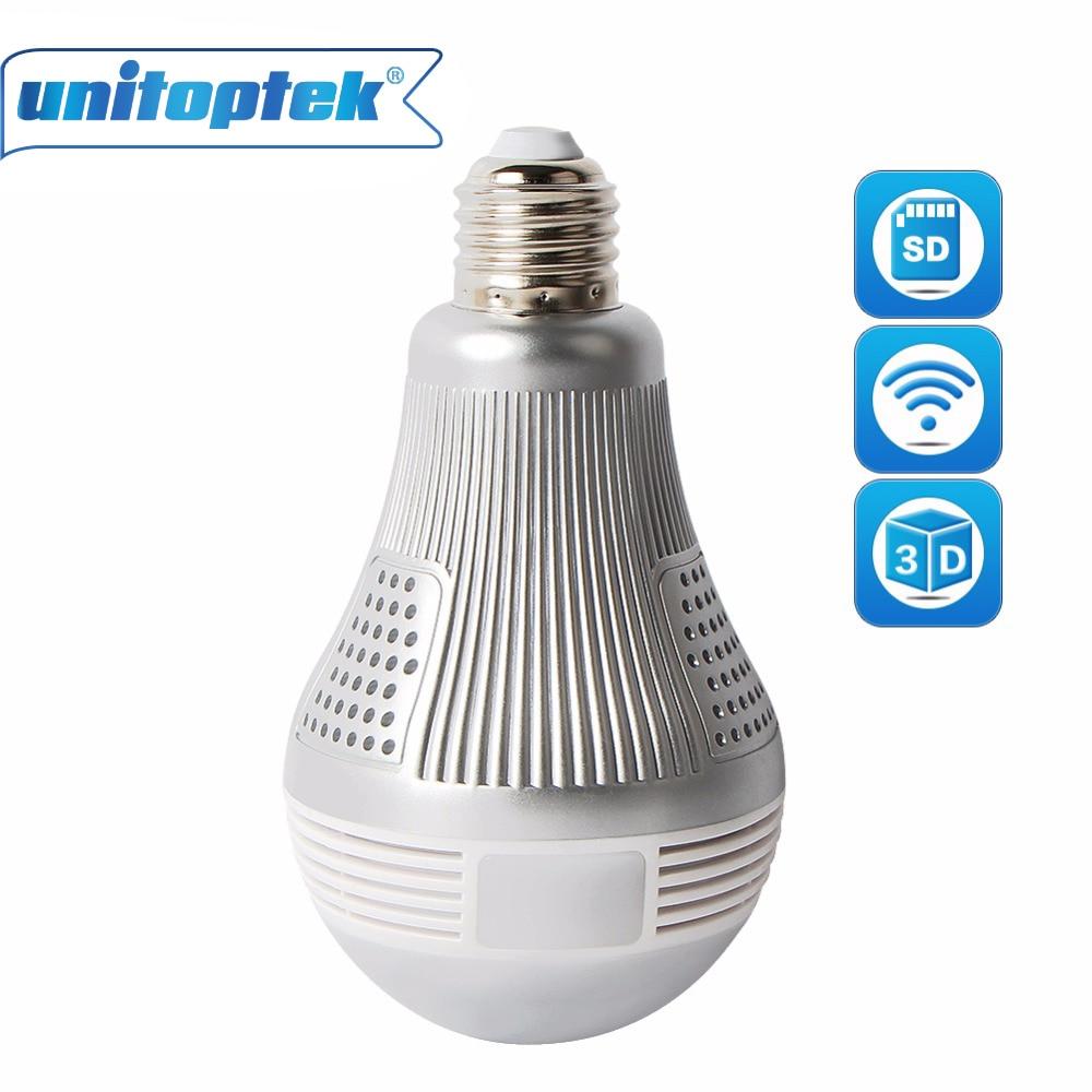 UNITOPTEK HD Wireless IP 3D VR WIFI Bulb Light Camera FishEye Panoramic Surveillance 180/360 Degree CCTV Home Security Cameras