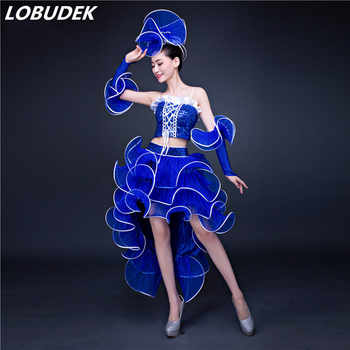 (top+skrit+cuff)female costume modern dance clothing jazz dance costumes sequined dresses pink adult clothing singer dancer star - DISCOUNT ITEM  36% OFF All Category