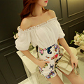 Original 2016 Brand Bodysuit Plus Size Slim Elegant Casual Short Sleeve Patchwork White Summer Sexy Jumpsuits Women Wholesale