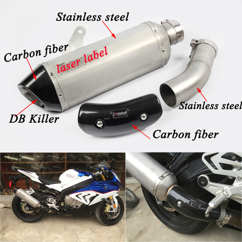 S1000rr Motorcycle Silencer System Middle Connecting Tubes With Exhaust Muffler Pipe DB Killer Silp on For BMW 2015-2016