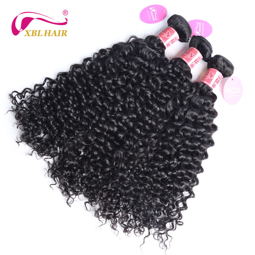 XBL HAIR Peruvian Curly Weave Human Hair 3 Bundles Deals Hair Weaves Remy Natural Color Free Shipping