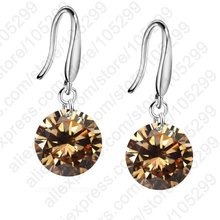 JEXXI Big Promotions!!  Nice 925 Sterling Silver 10mm AAAA Crystal Shiny Woman Girl Candy Hook Dangle Earrings