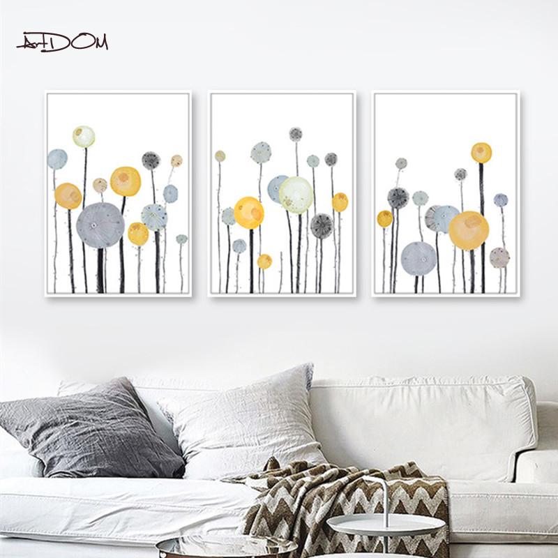 Artdom No Framed Modern Art Print Poster Nordic Minimalist Wall Picture Dandelion Canvas Painting Kids Room