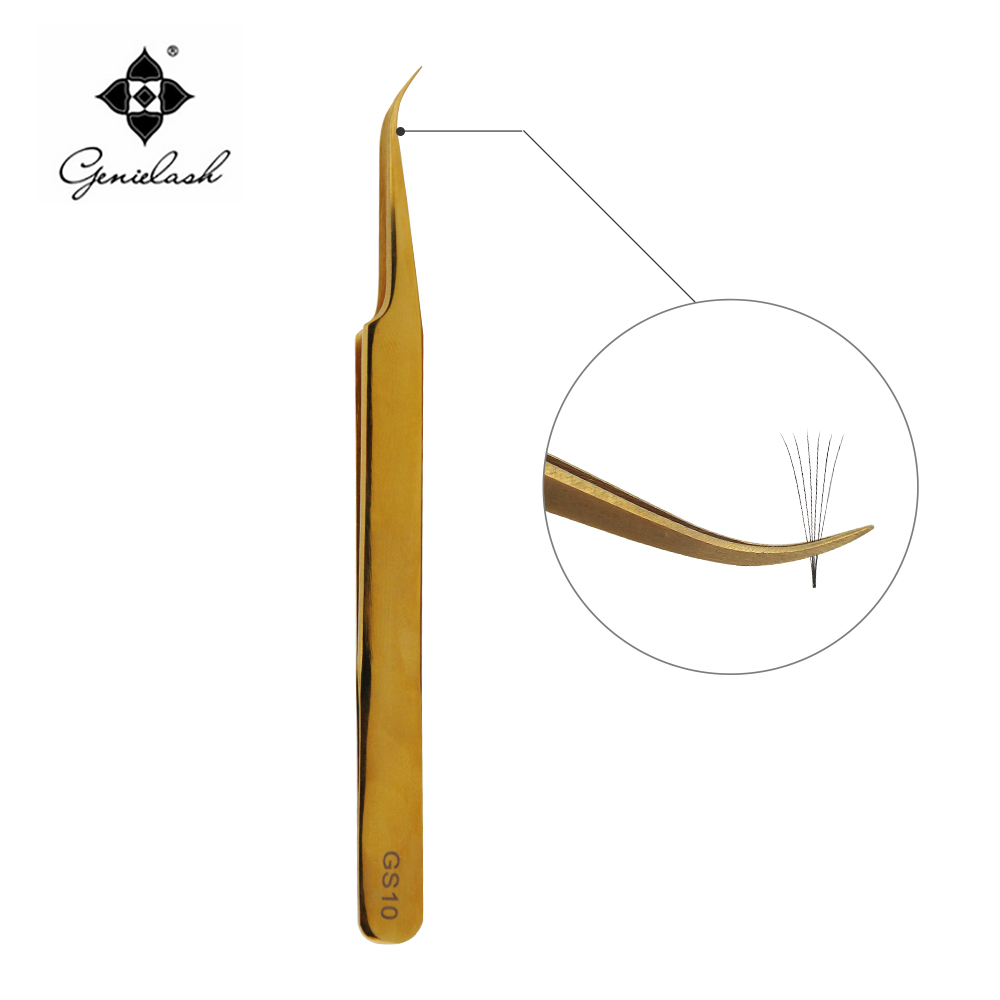 GS10 HONORABLE CURVED GOLDEN TWEEZERS Especially For 3D Volume Mink Eyelash Extension Lash EXTENSION TWEEZERS Free Shipping