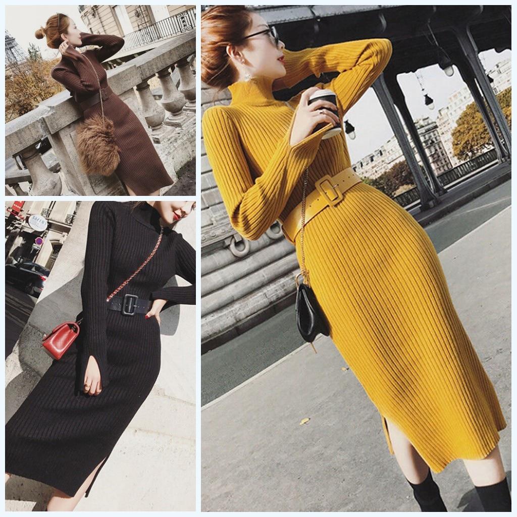 2019 New 1PC Female Split Side Knitted Sweater Dress Warm Long Sleeve High Neck Dresses With Belt Fall Winter Dress For Women