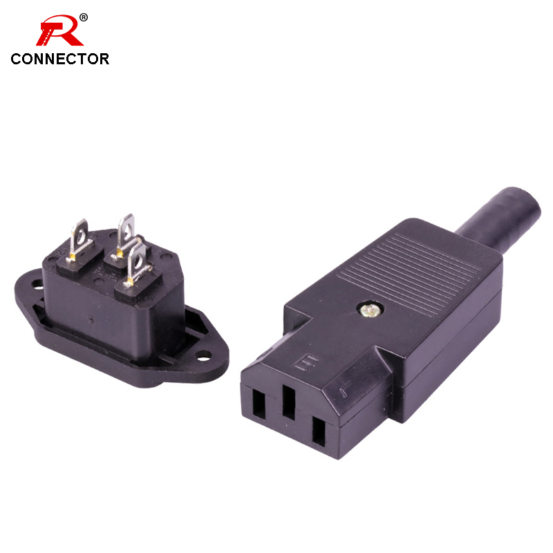 1Set Power Connector <font><b>250V</b></font> <font><b>10A</b></font> <font><b>3Pins</b></font> DC AC Power Plug Jack Terminal set Panel Mounted image