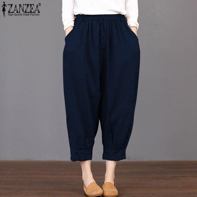 ce3e6065d561 Plus Size ZANZEA Fashion 2018 Summer Trousers Women Harem Pants Elastic  Waist Loose Casual Pants Pantalon Femme Streetwear 5XL