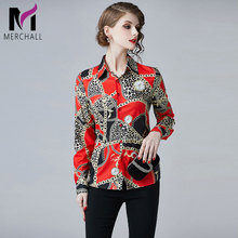 Merchall Women Leopard Runway Blouse 2019 Fashion Long Sleeve Turn Down Collar Chain Printed Summer Tops Designer Shirts M3154