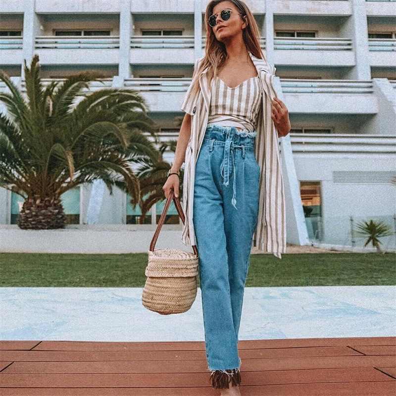 2019 Women White Black Bract Long Jeans Solid High Waist Streetwear Woman Trousers 2019 Autumn Straight Pants