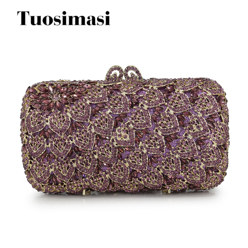 Amazing Bling Hollow Out Purple Bridal Crystal Evening Bag Women Gold Metal Clutches Wedding Banquet Party Handbag(88234-PG) luxury crystal clutch handbag women evening bag wedding party purses banquet