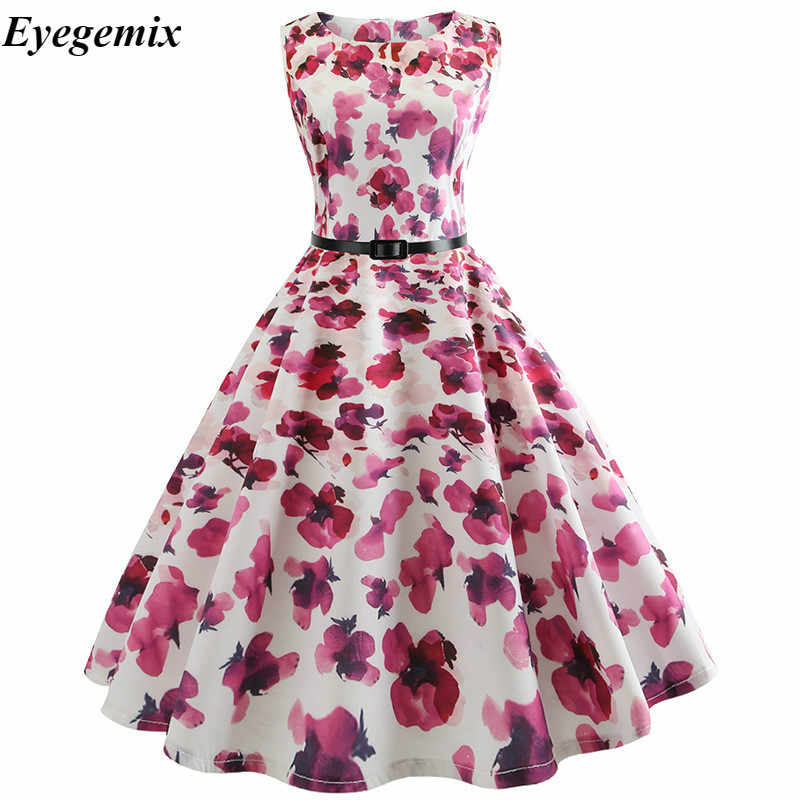 80f77aa2288e ... Vintage Dresses 2018 Flamingo Print Summer Dress for Women 50s 60s  Floral Sleeveless Party Vestidos Mujer ...