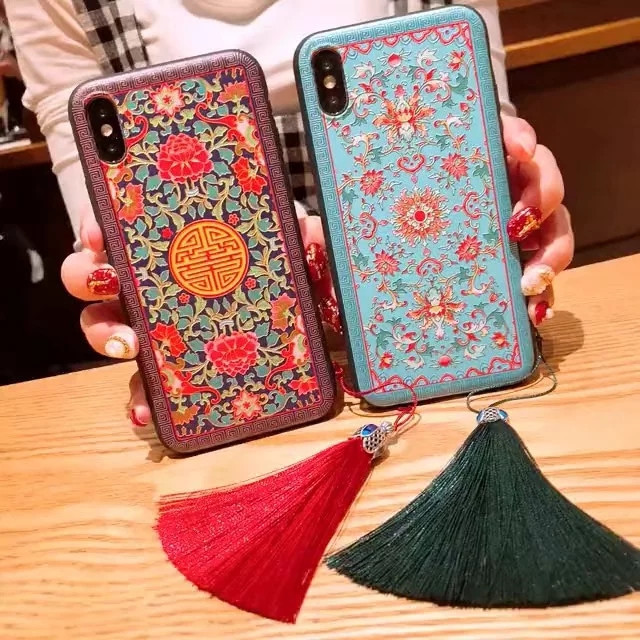 Jekacci Abstract Relief Palace Painting for iPhone 5 5s Se 6 7 8 Plus Case Tassel Flower Soft Phone Cover for iPhone X Xs Max Xr