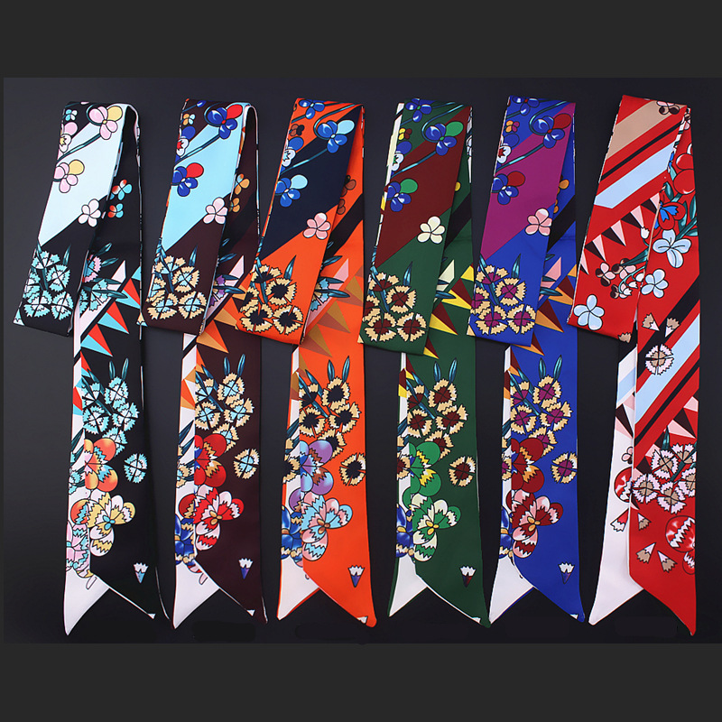 New brand small silk   scarf   for women fashion floral print handle band ribbon female head   scarves     wraps   long skinny scarfs tie