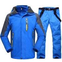 Лыжный костюм мужской зимний супер теплый утолщенный непромокаемый ветрозащитный зимний костюм мужской лыжный сноуборд куртка и брюки 2 в 1