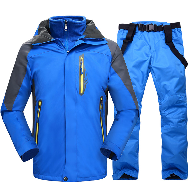 Ski Suit Men Winter Super Warm Thicken Waterproof Windproof Snow Suits Male Skiing Snowboard Jacket and Pants 2 in 1 Clothes Set