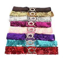 new ladies belt 7CM wide elastic band women #8217 s fashion glitter elastic band gold and silver elastic belt skirt belt waist cover cheap Adult Plastic 7 5cm geometric Belts have lasticity