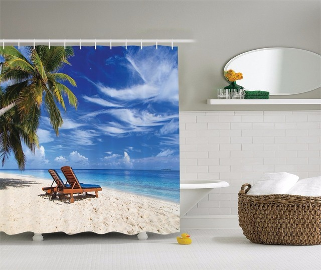 High Quality Arts Shower Curtains Beach Chairs Palm Trees Blue Sky White Clouds Bathroom Decorative Modern