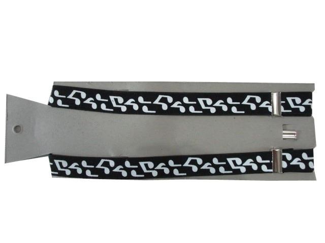 Новая мода 2,5 см Широкий регулируемый 3 клипса на черной ноте Печать Эластичные подтяжки для женщин