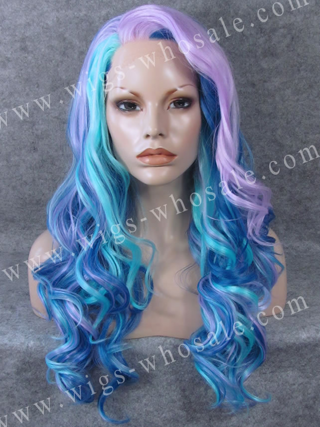 ФОТО Celebrity Drag Queen Wigs Long Wavy Three Tones Synthetic Lace Front Wig Cosplay Hair