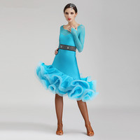 Long sleeve latin dance competition dresses women samba rumba tango latin dance dress latin dance costumes women
