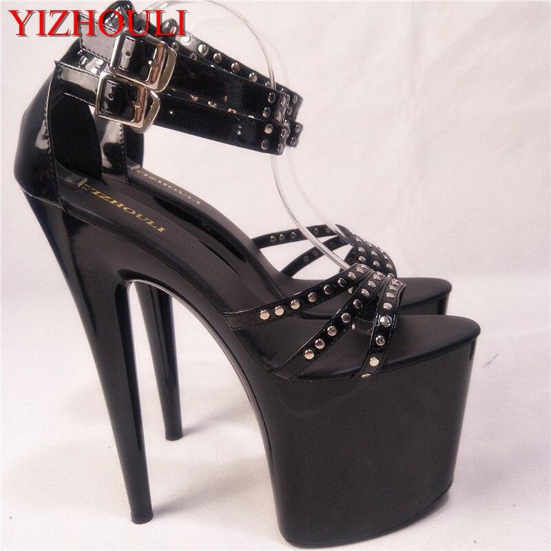 Classic Black 20cm Open Toe Sandals Super High Heel Platform Pole Dance shoes Gorgeous punk 8 inch sexy rivet cover heel sandals