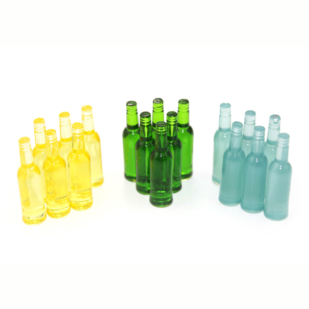 6Pcs 1/12 Dollhouse Miniature Accessories Mini Resin Wine Bottle  Simulation  Drinks Model Toys For Doll House Decoration