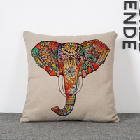 Hot Selling Cushion Cover Decorative For Home Fashion Pillow Case Car Covers Elephant Patterns Linen Cotton