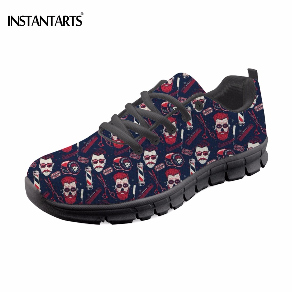 INSTANTARTS Fashion Breathable Womans Sneaker Funny Hairdresser/Barber Shop Pattern Women Mesh Flats Shoes Casual Blue Footwear