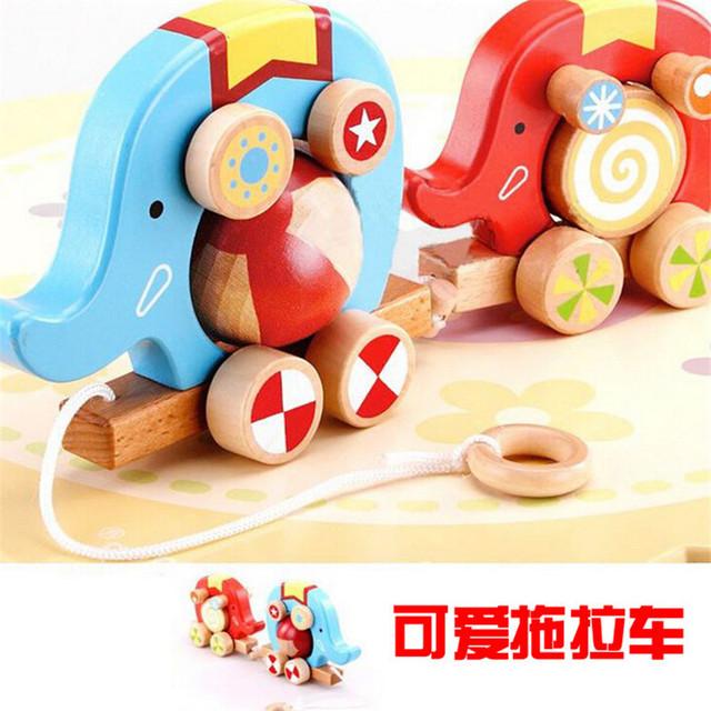 Dois elefantes trator do brinquedo divertido rolo projeto crianças educação aprendizagem brinquedos de madeira do bebê brinquedo