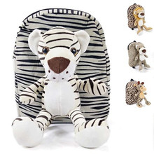 Animals Bags for Kids plush backpack Lion/Tiger/Fawn/Leopard children plush lovely Backpack Schoolplush knapsack Baby plush bags(China)