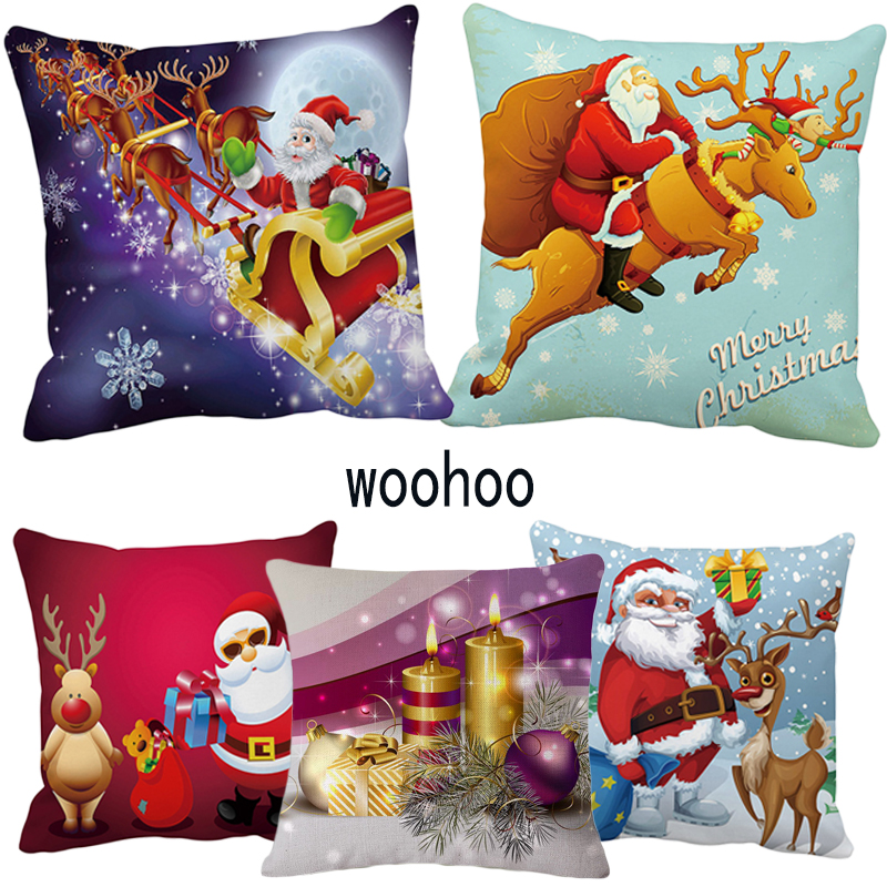 woohoo New Christmas gift Cushion Cover Gold Printed Pillow Cover Decorative Pillow Case Sofa Seat Car Pillowcase Soft Cojin in Cushion Cover from Home Garden