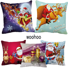 woohoo  New Christmas gift Cushion Cover Gold Printed Pillow Decorative Case Sofa Seat Car Pillowcase Soft Cojin