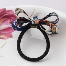 M MISM Retro Classic Print Bow Knot Elastic Hair Band Hair Accessories Rubber Gum Hair Holder Scrunchy For Women Girls