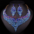 New Blue Dubai Jewellery Gold Plated Bridal Jewelry Set For Bride Necklace Earring Wedding Party Accessories Gift For Women