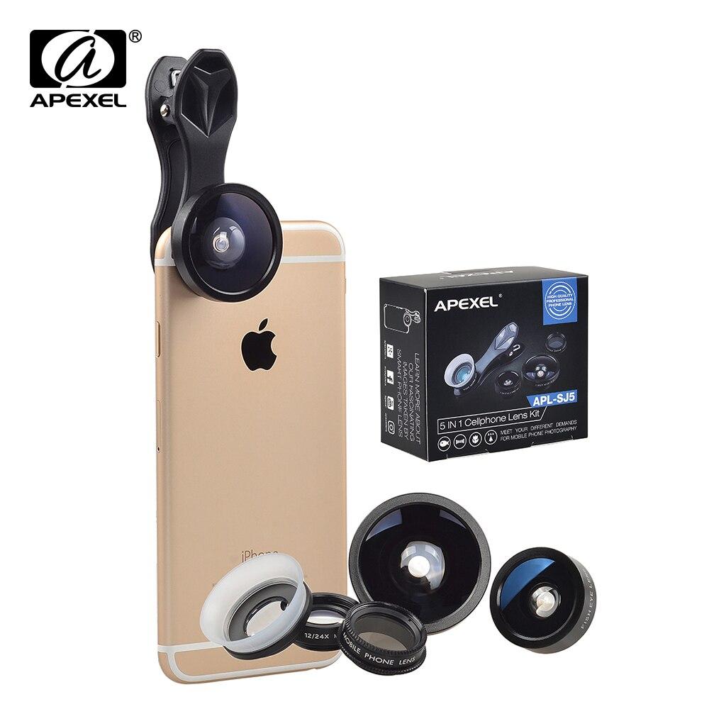 imágenes para Apexel 5 en 1 fisheye gran angular macro lente cpl cámara kits lentes de clip universal para el teléfono móvil para xiaomi iphone 7 6 plus sj5