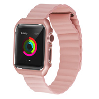 Genuine Leather Loop Apple Watch Band With Stainless Steel Case Bumper Magnetic Milanese Loop Band For