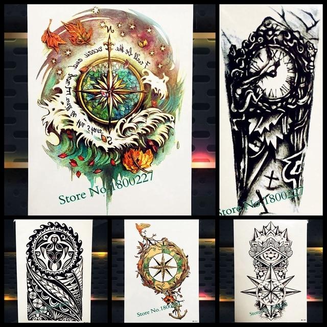 Wodoodporna Tymczasowa Tatuaż Kompas Wzory Fałszywe Tatuaże Arm