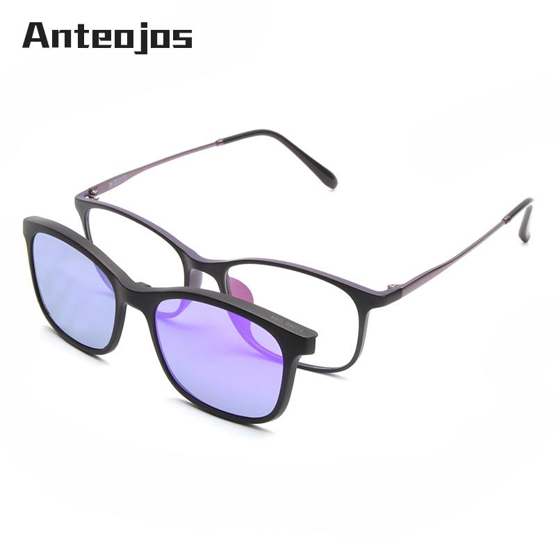 887ac03aa7c ANTEOJOS 2019 New Design Light Weight Unisex Purple Polarized Lens Magnetic  Clip On Optical Eyewear Sunglasses